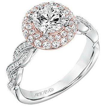 "Artcarved ""Anja"" Two Tone Twisted Halo Diamond Engagement Ring"