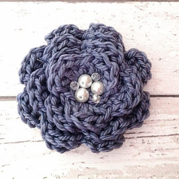 Deep purple crocheted flower brooch floral pin