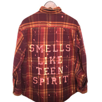 "Plaid Nirvana Shirt ""Smells Like Teen Spirit"" in Burgundy Flannel. Hipster 90s grunge song lyrics quote Kurt Cobain dark red acid wash dyed"