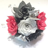 Dragon Bouquet, Handmade paper Rose bouquet, Fantasy bouquets, Game of thrones Wedding bouquet, Dungeons and Dragon themed bouquets