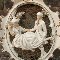 antique victorian couple wall decor, Universal Statuary 1957, shabby chic cottage decor, French ivory gold, mid century decor