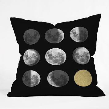 Chelsea Victoria Moon Phases and The Gold Sun Throw Pillow