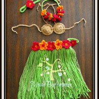 Girls Hawaiian Grass Hula Skirt, Coconut Bra, Lei, Flower Headband and Anklet