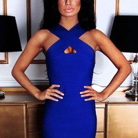 Sensuality Blue Front Wrap Bandage Mini Dress | Pink Boutique