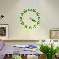 WALL POT CLOCK 4:20 DECAL WEED Green MARIJUANA POT PLANT LEAF VINYL STICKER ROOM DECORATION