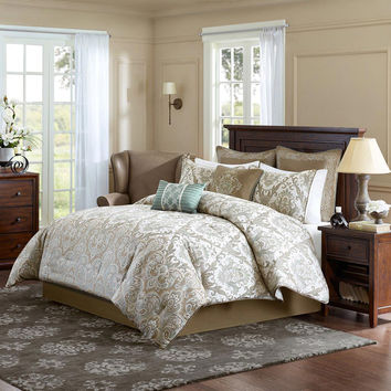 Madison Park Signature Pierce  Polyester Jacquard 8pcs Comforter Set, Ivory