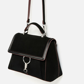 SUEDE CITY BAG WITH RING DETAIL DETAILS