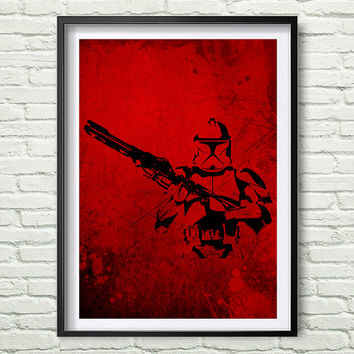 Star Wars Clone Trooper Silhouette Star Wars. Wall Art, black and red Art, Star Wars Art, Clone Trooper poster Nursery Decor *83*