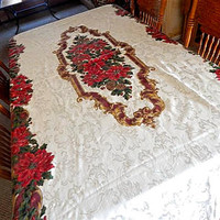 Elegant Christmas Tablecloth 120 x 60 Gold Burgundy and Green Poinsettia Floral Table Cover