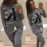 CK Calvin Klein Fashion Women Casual Letter Print Long Sleeve Sweater Pants Sweatpants Set Two-Piece Sportswear Grey
