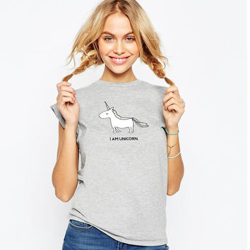 Gray Unicorn Print Short Sleeve T-Shirt