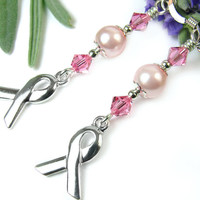 Pink Breast Cancer Awareness Earrings, Ribbon Charms, Swarovski Pearls and Rose Crystals, Sterling Silver Ear Wires and Beads