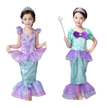 New Girls Mermaid Dresses with Pearl Children Halloween Little Mermaid Ariel Cosplay Costumes for Kids Carnival Party Dress