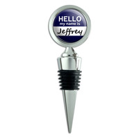 Jeffrey Hello My Name Is Wine Bottle Stopper