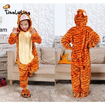 TINOLULING Kids Funny Sleepwear Robes Boys Girls Tigger Pajama Sets Children Animal Onesuits Costume Baby Flannel Pyjamas Pijamas