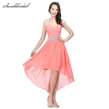 Sweety Ever Pretty Homecoming Dresses 2017 Sweetheart Hi-Lo Sexy Lace Up Chiffon And Party Prom Dresses Vestido De Festa SLD400