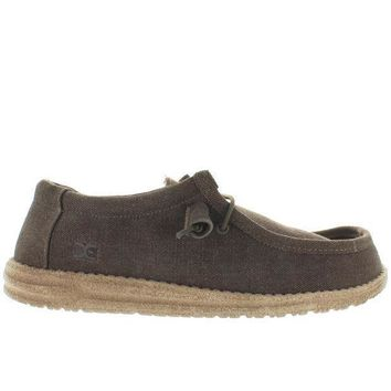 Hey Dude Wally   Chocolate/tan Linen Athleisure Wallabee