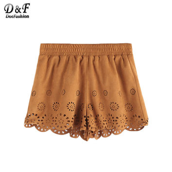 Dotfashion Summer New Arrival Casual Women Low Waist Shorts Summer Camel Suede Laser Cutout Scallop Hem Shorts