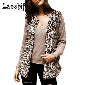 2017 New Middle and Long Style Leopard Print Fur Vest Coat Women Thin Faux Fur Jacket Female V-necked Furs Coats Gilet Veste 2XL