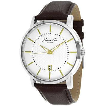Kenneth Cole KCW1015 Men's New York White Dial Brown Leather Strap Date Watch