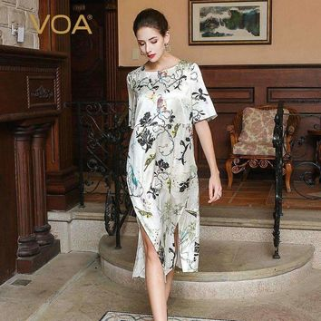 Summer Half Sleeve Casual Simple Animal Print Dress White Plus Size Loose Silk Women Midi Dress Ajh00201