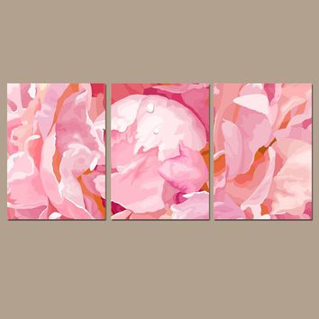 Pink Peonies Wall Art, Floral Watercolor Decor, Zoom Flower, ROSE Girl Bedroom Pictures, CANVAS or Prints, Above Crib Decor, Set of 3