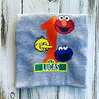 Sesame Street 1st birthday shirt or Onesuit