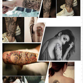 2pcs Large Sexy Tattoo Skull Temporary Body Arm Stickers Removable Waterproof