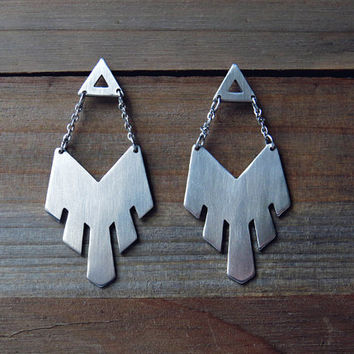 WANDERLUST statement earrings / boho chic earrings / tribal earrings / stainless steel earrings / chain earrings / large geometric earrings