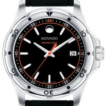 Movado Series 800 Black Dial Black Rubber Orange and White Accent Men's Watch 2600099