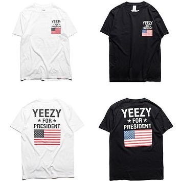 Brand clothing YEEZY T Shirt Men Yeezy For President Obama American Flag T-shirt Kanye