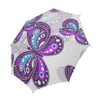 Colorful Butterflies and Flowers V17 Semi-Automatic Foldable Umbrella | ID: D2814333
