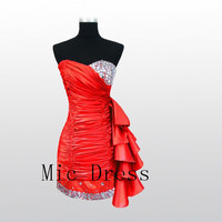 Sweetheart sleeveless knee-length with beads ruffle lace up back Evening/Party/Homecoming/cocktail /Bridesmaid/Formal Dress