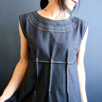 Nothing Else Matters - iheartfink Handmade Solid Gray Structured Sleeveless Empire Waist Side Slits Jersey Tunic Top