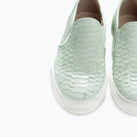 Printed leather slip-on with track sole in mint - shoes | ZARA