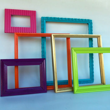Set of 6 Picture Frames Lot Vintage Pink Orange Aqua Green Gold Purple Wood Shabby Chic French Country Modern Hanging Wall Art Wedding Decor