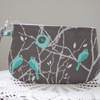 Wristlet Zipper Gadget Purse Pouch in Blue Cottage Birds made in the USA Smart Phone bag