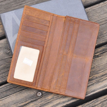 brown genuine leather long wallet vintage handmade card hold cool gift 36