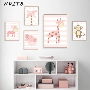 Woodland Animal Giraffe Monkey Canvas Posters Baby Nursery Wall Art Prints Cartoon Painting Nordic Kids Decoration Pictures