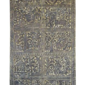 Antique INDIATribal Vintage Wood Carved Door Panel Wall FARMHOUSE CHIC RUSTIC 72