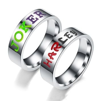 Comics Suicide Squad Harley Quinn and The Joker Lover Couple Stainless Steel Wedding Rings Gift