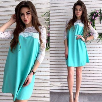 Streetstyle  Casual Light Green Patchwork Lace Hollow-out Draped Half Sleeve Fashion Mini Dress