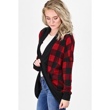 Buffalo Plaid Bolero Cardigan {Red/Black}