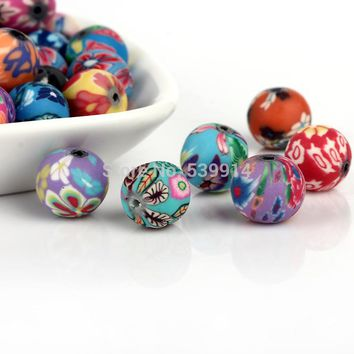 10MM 200pcs/lot Mixed Colors Flower Fimo Ball  Round Polymer Clay Beads Handpainted Fit Bracelet Beads DIY Finding Accessory