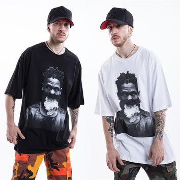 YouthCodes 2018SS Hip Hop Trend Street T Shirt Men Justin Bieber Kanye West Star Character Loose Style T-Shirts Cotton Smoking