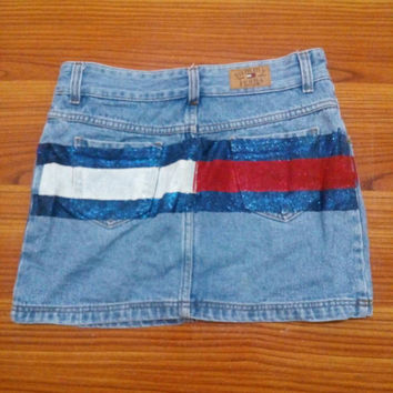 Tommy Hilfiger Authentic Big Logo Denim skirt, Tommy Jean Mini skirt sexy Tommy vintage