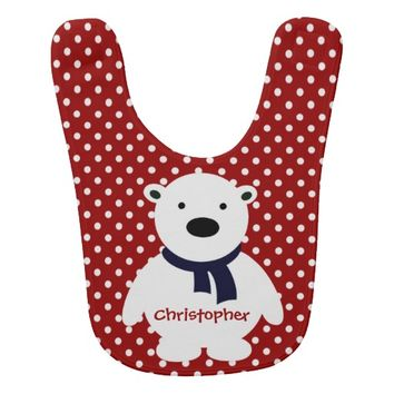 Cute Red/White Polka Dots, Polar Bear, Add name