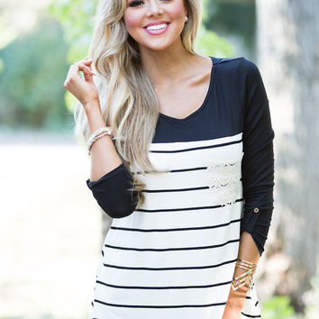 Nautical and Lace Love Top Black