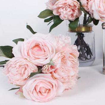 """Silk 7 Rose And Peony Bouquet in Pink 16"""" Tall"""