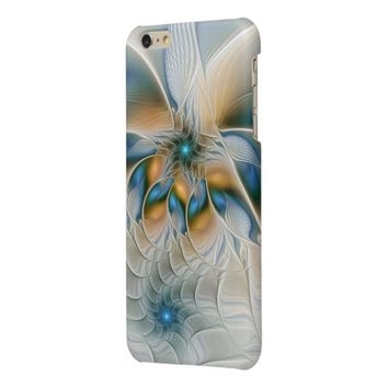 Soaring, Abstract Fantasy Fractal Art With Blue Glossy iPhone 6 Plus Case